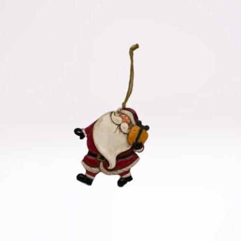 Pai Natal de pendura em fibra com presente