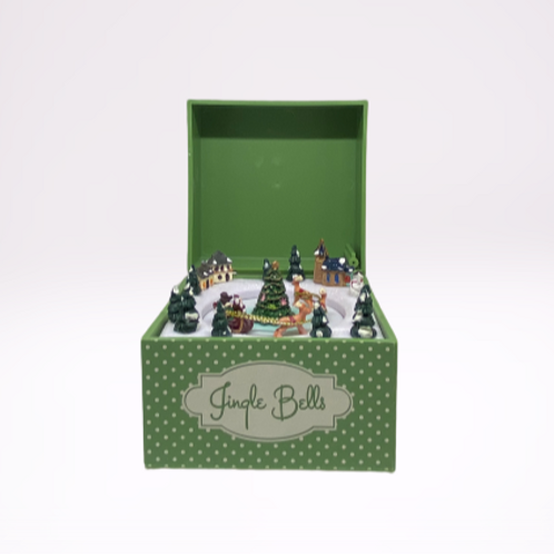 "Caixa de musica de corda, verde ""Pai Natal"""