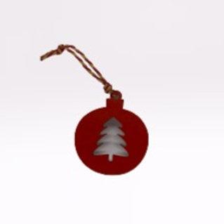 Bola de Natal de pendurar vermelha com árvore