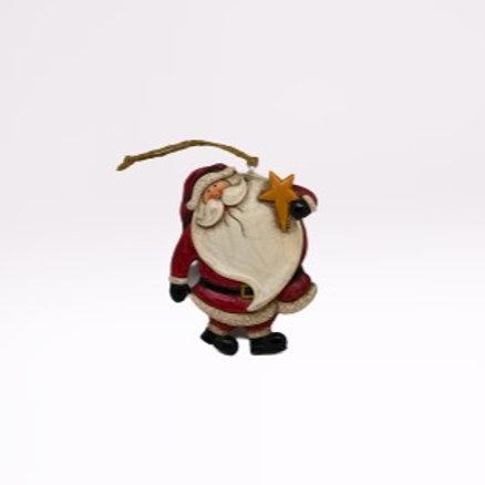 Pai Natal de pendura em fibra com estrela