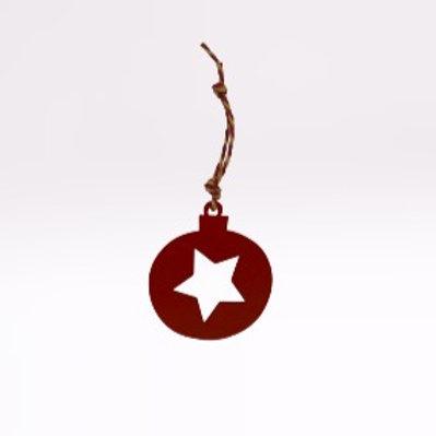 Bola de Natal de pendurar vermelha com estrela