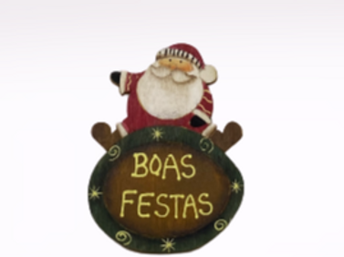 Íman Pai Natal com gorro vermelho e branco em madeira