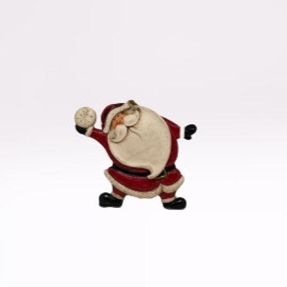 Pai Natal de pendura em fibra com bola de neve