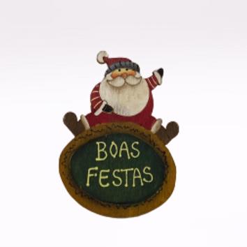 Íman Pai Natal com gorro vermelho e cinzento em madeira