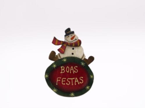 Íman Boneco de Neve com cachecol  vermelho em madeira