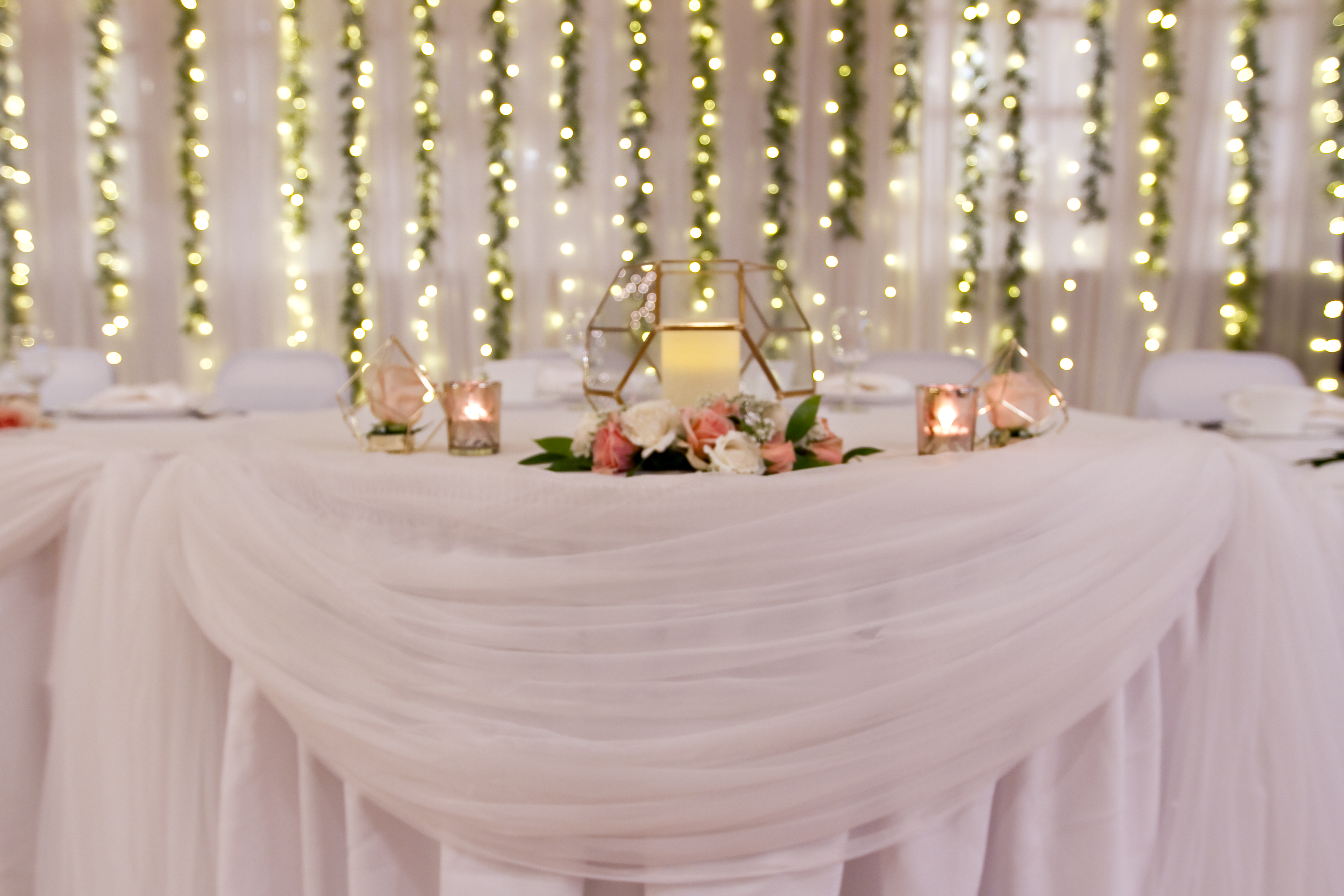 Sweetheart Table_Lighted Backdrop with cascading boxwood garland