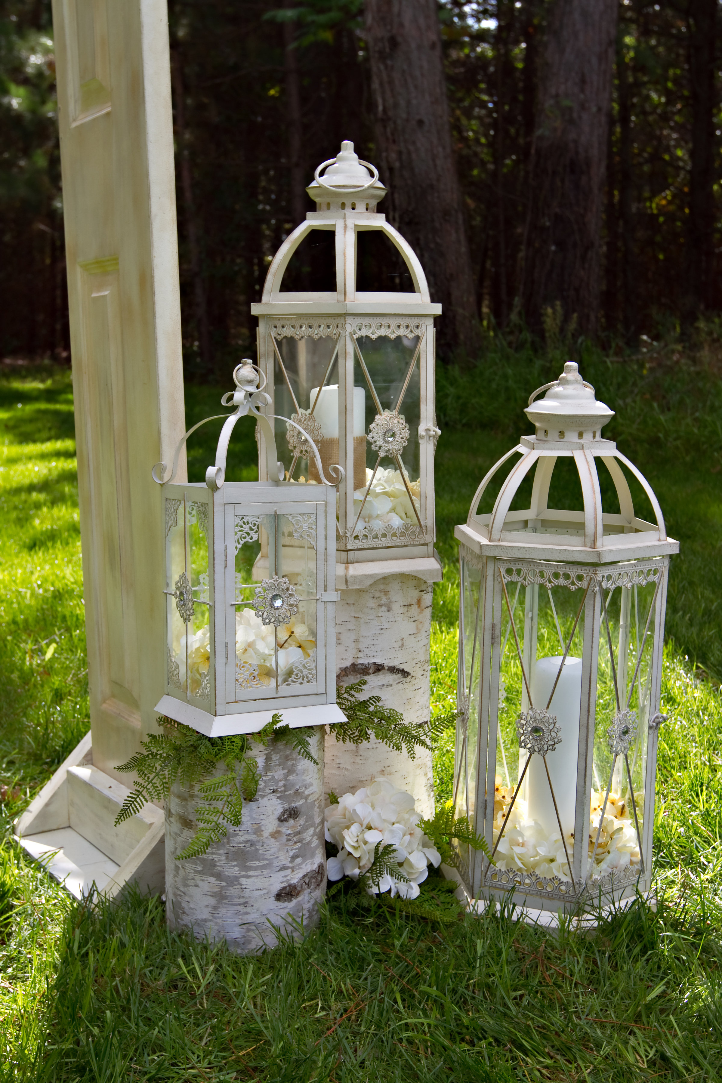Cream Jeweled Lanterns