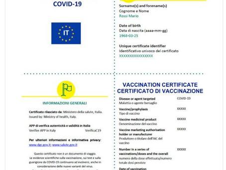 """""""GREEN PASS"""" COVID-19: che cos'è, come funziona e come ottenere la certificazione"""