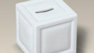 TIRELIRE en porcelaine blanche