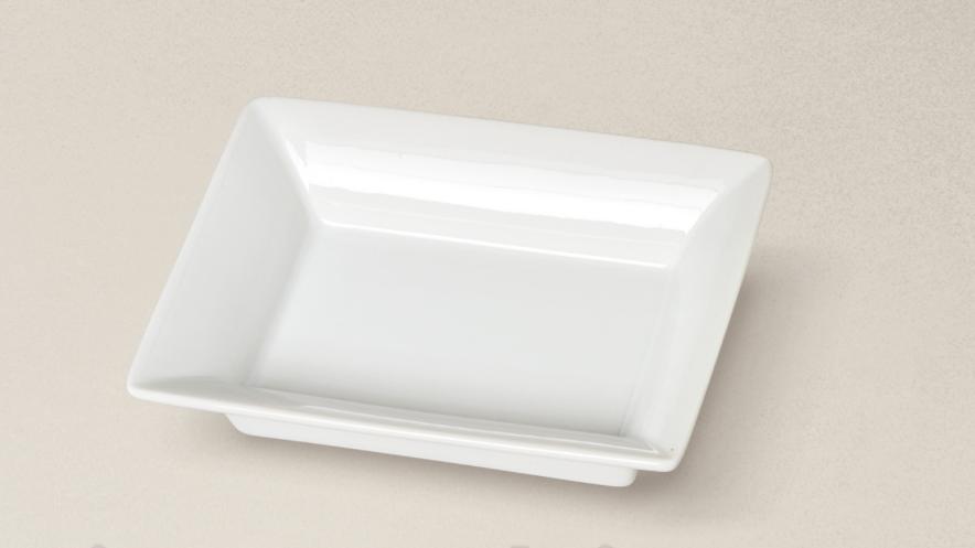 vide poche rectangle  porcelaine blanche - 12 cm