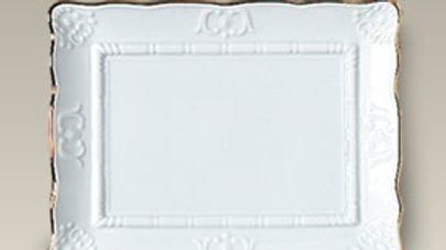 Plaque ou plateau en porcelaine blanche , bordure Or