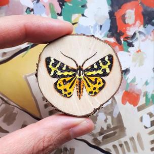Wood tiger moth brooch