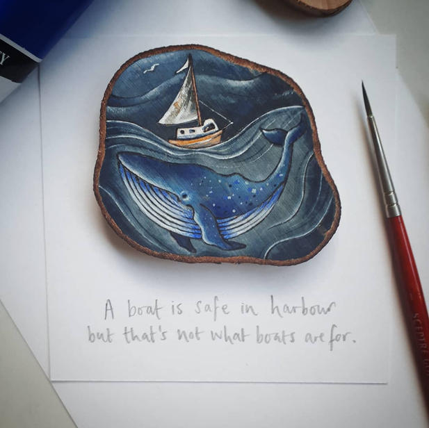 Whale and quote for framing