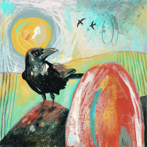 Corvid and the red rock