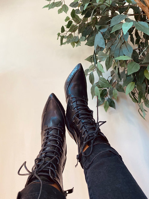 Black Lace-up Booties, Size 8