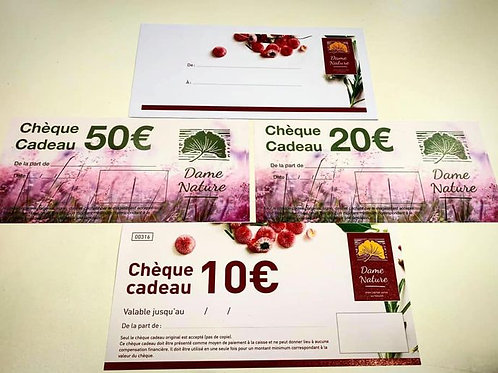 Chèque cadeau Dame Nature 20 euros