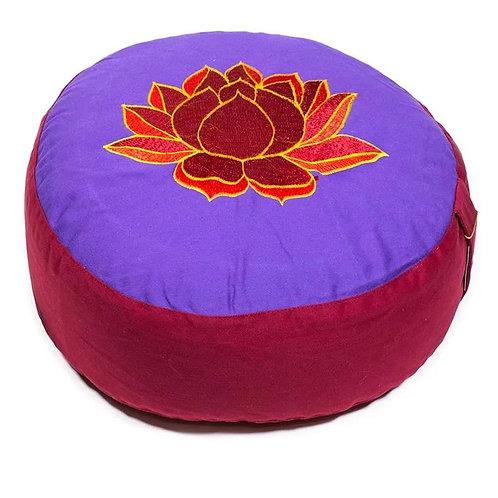 Coussin méditation Lotus violet et rouge