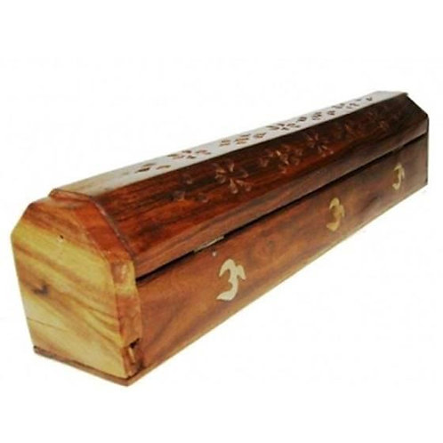 Boîte brûle encens en bois avec Om en métal 30 cm