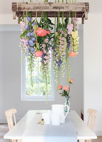 Flowers styling idea DIY chandelier peony rose home