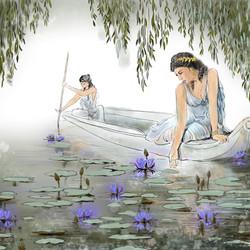 Девушки на лодке. Лотосы. Таис Афинская.