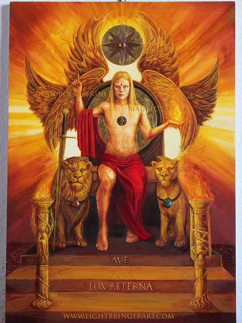 Ave Lux Aeterna. The Light Bringer, Angel of Liberty enthroned.