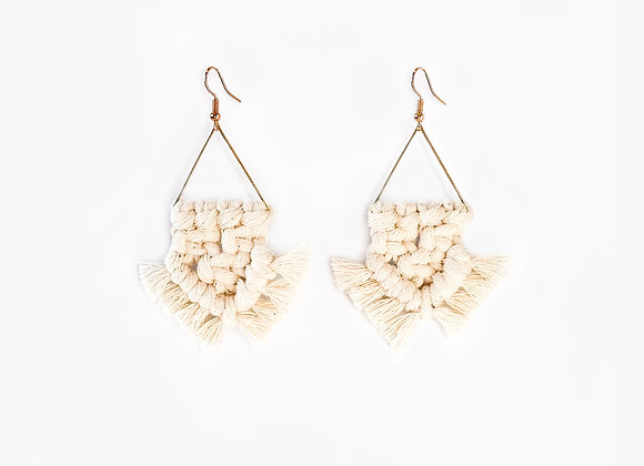 Handmade bohemian earrings made out of brass and recycled cotton