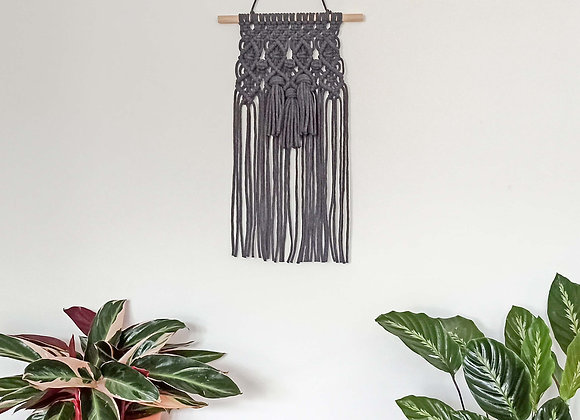 Yala Tassels macrame wall hanging Charcoal Grey / Ready to Ship
