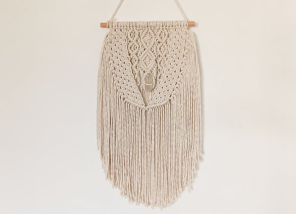 Macrame wall hanging and rose quartz  / Ready to Ship
