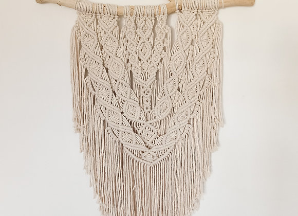 Macramé wall hanging with white driftwood / Ready to Ship