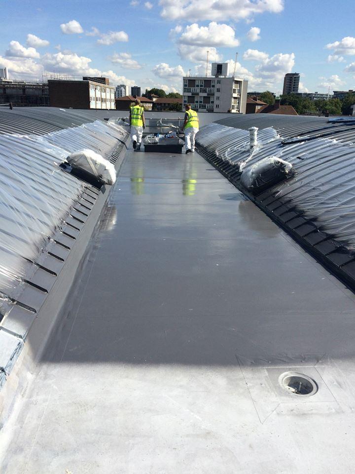 Polyurea spray school roof