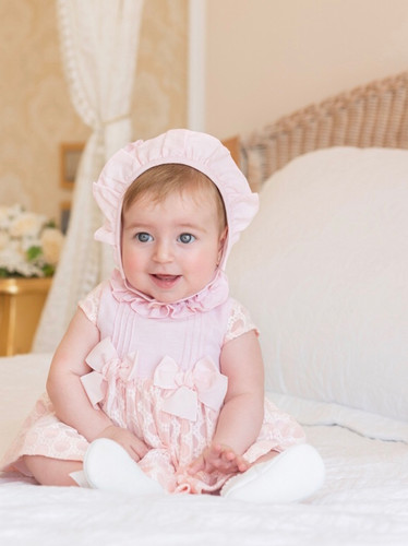 3ce94c922 SS19 Dolce Petit Baby Girls Double Bow Dress & Knickers (No Bonnet) - Pink