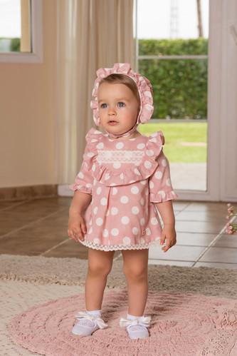 8b486c438 SS19 Dolce Petit Baby Girls Polka Dot Dress, Knickers & Bonnet