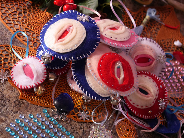 iFelt Vaginas Adult Christmas Ornaments by Rayne Grant