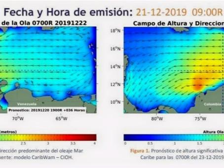 Por fuertes vientos y oleajes en el mar Caribe, Dimar recomienda extremar medidas de seguridad