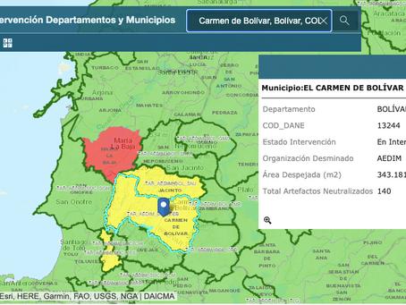 El Carmen recibe certificación de 37 sectores libres de minas antipersonal
