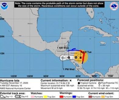 IOTA tiene un 40% de posibilidades de ser un ciclón y Cartagena se vería afectada