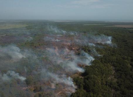 Continúa mitigación de incendio en Isla Salamanca