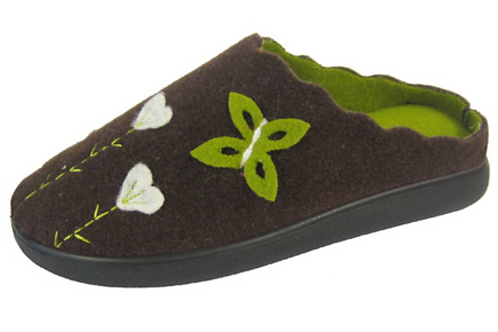 Ladies COOLERS Felt Clog Slippers (chocolate and lime)
