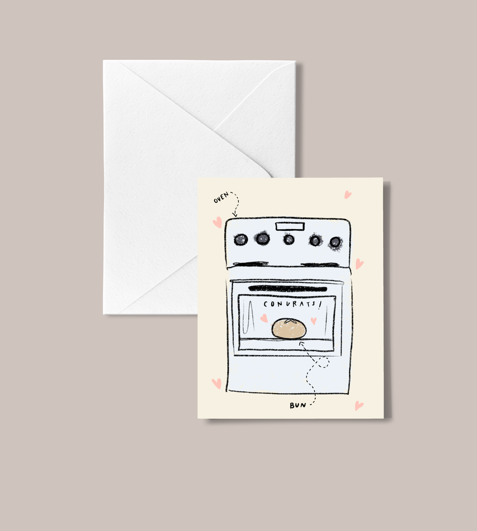 'Bun in the Oven' peachbaby Greeting Card