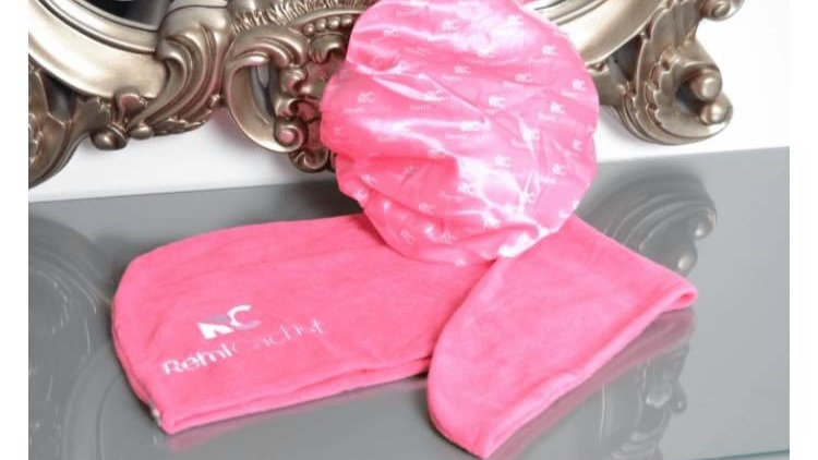 Remi cachet shower cap & turban towel