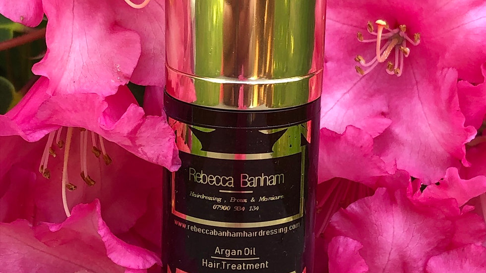 Argan hair treatment oil by Rebecca Banham my exclusive aftercare range