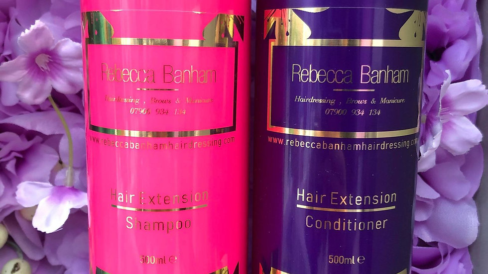 Hair extension shampoo & conditioner my exclusive Rebecca Banham aftercare range