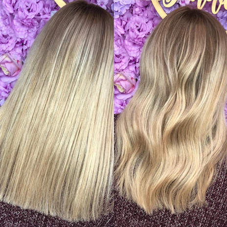 Root smudge & ribbons of blonde.