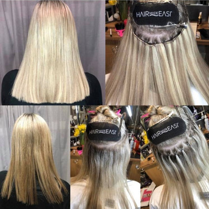 Step by step braidless-sew in weft.