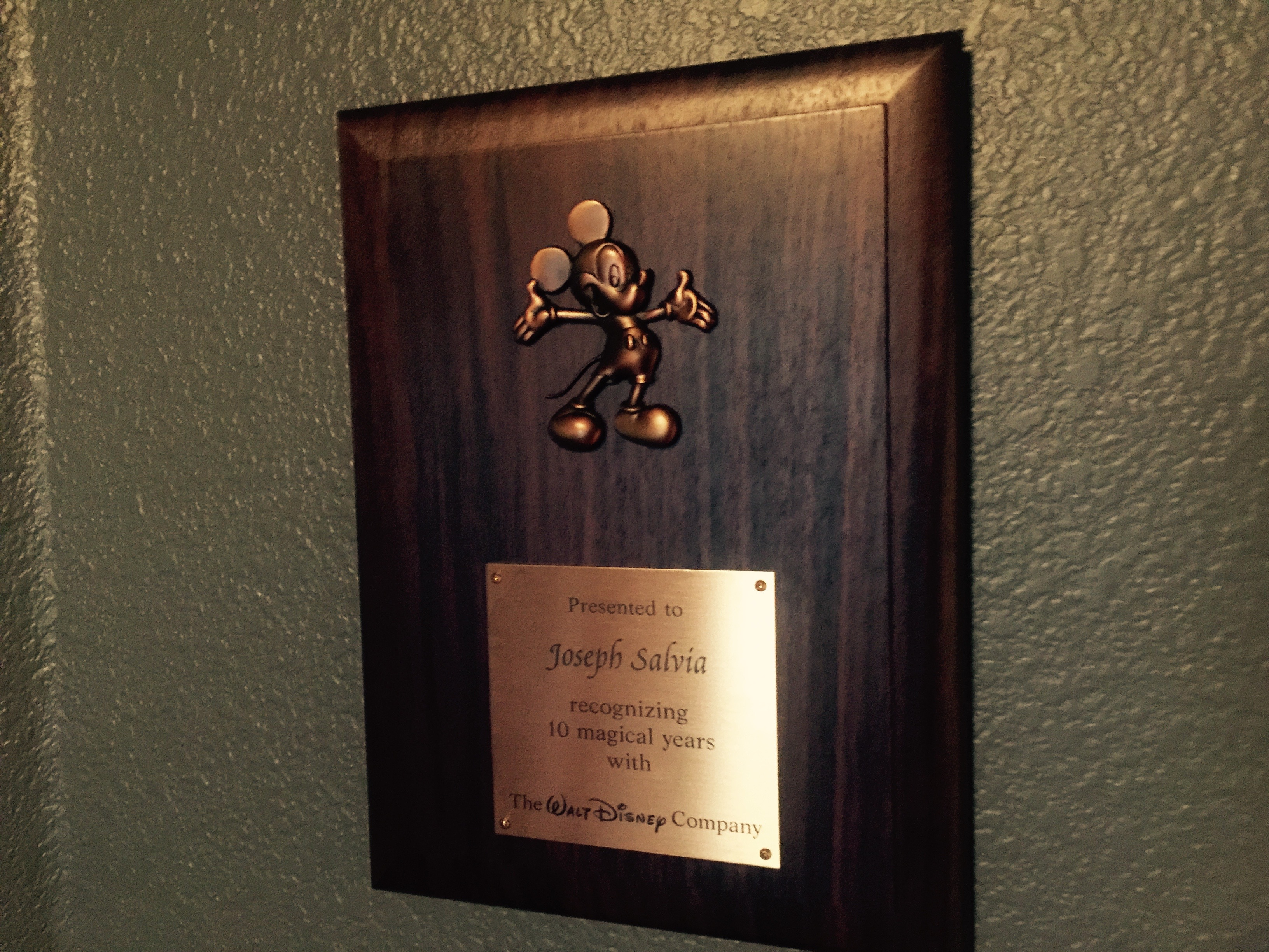 My 10 Year Walt Disney Award
