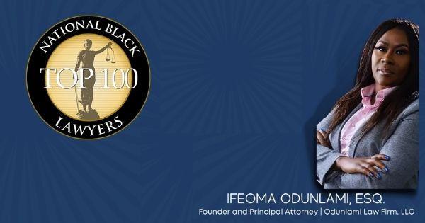 Congratulations Ifeoma Odunlami on Winning The National Black Lawyers Top 100 Award