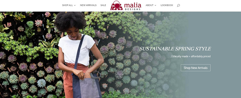 Malia Designs Homepage Screenshot