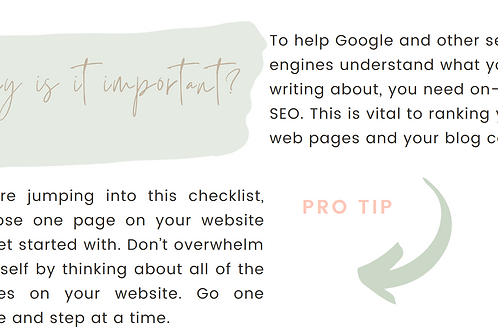 SEO On-Page Checklist Offer