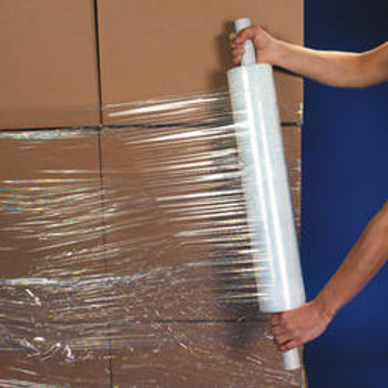 High strength hand applied pallet wrapping film