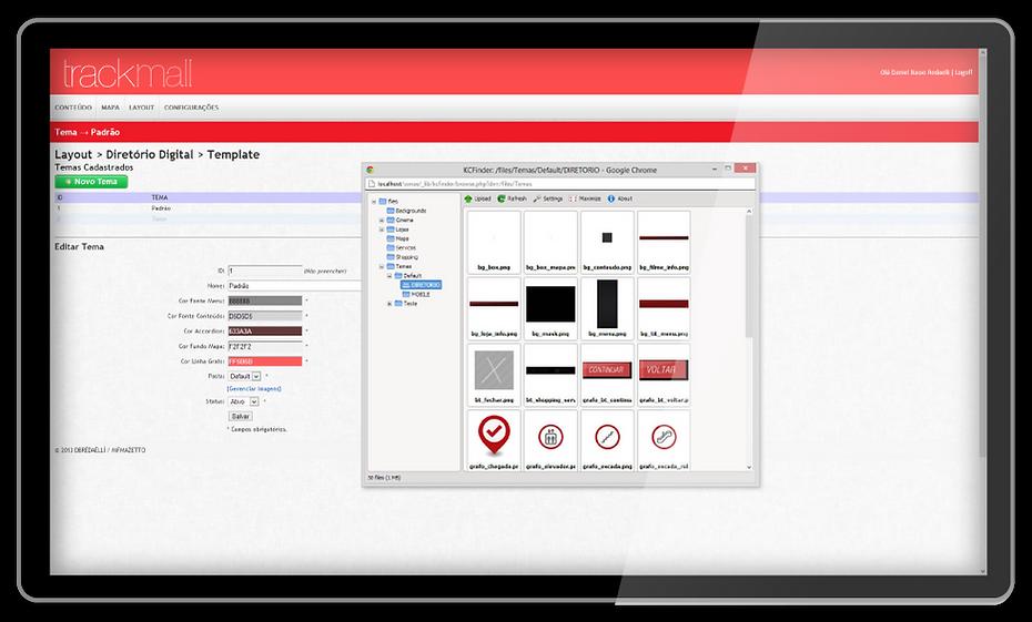 Customização interface Diretorio Interativo Touchscreen Shopping Mall